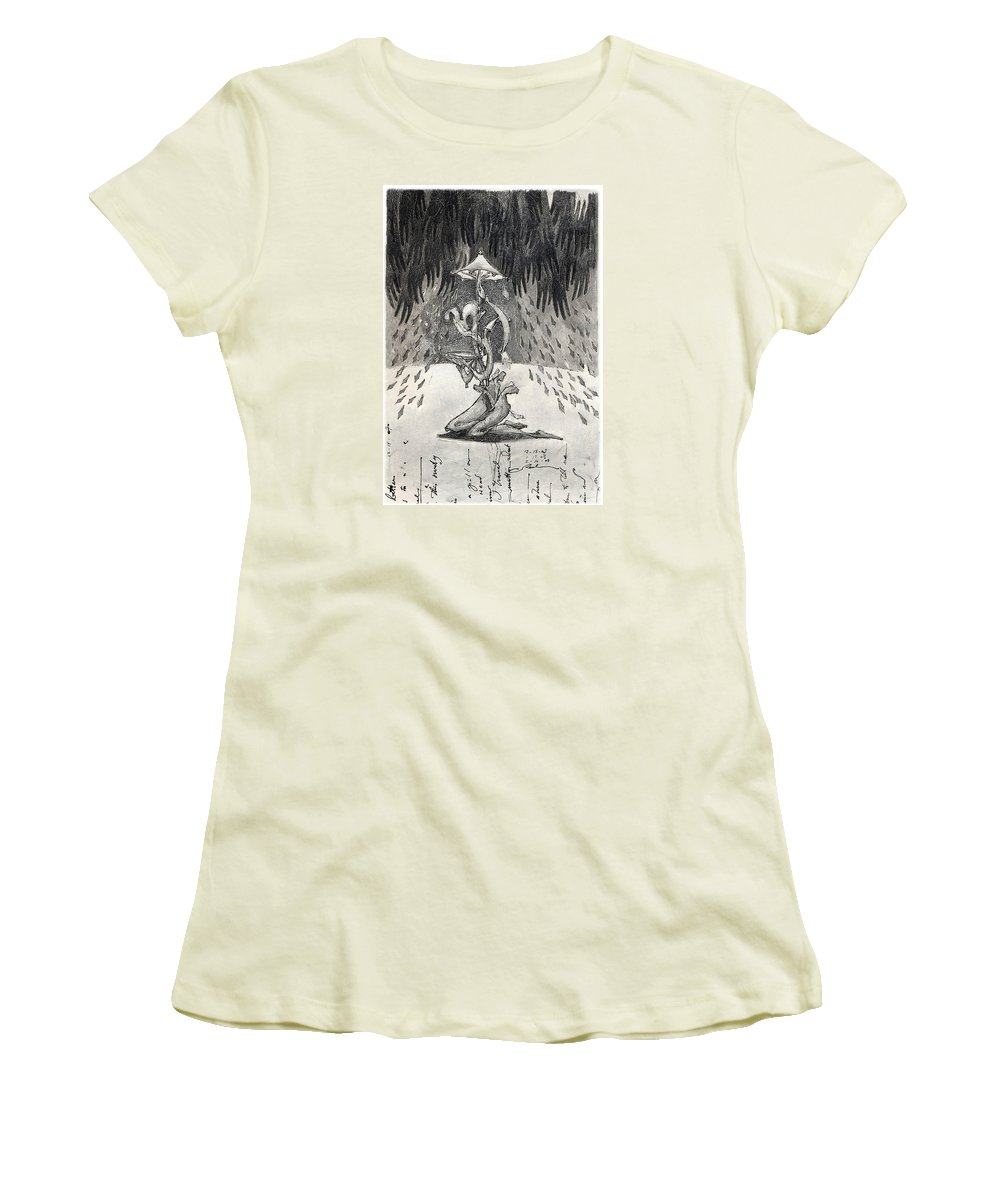 Umbrella Women's T-Shirt (Athletic Fit) featuring the drawing Umbrella Moon by Juel Grant