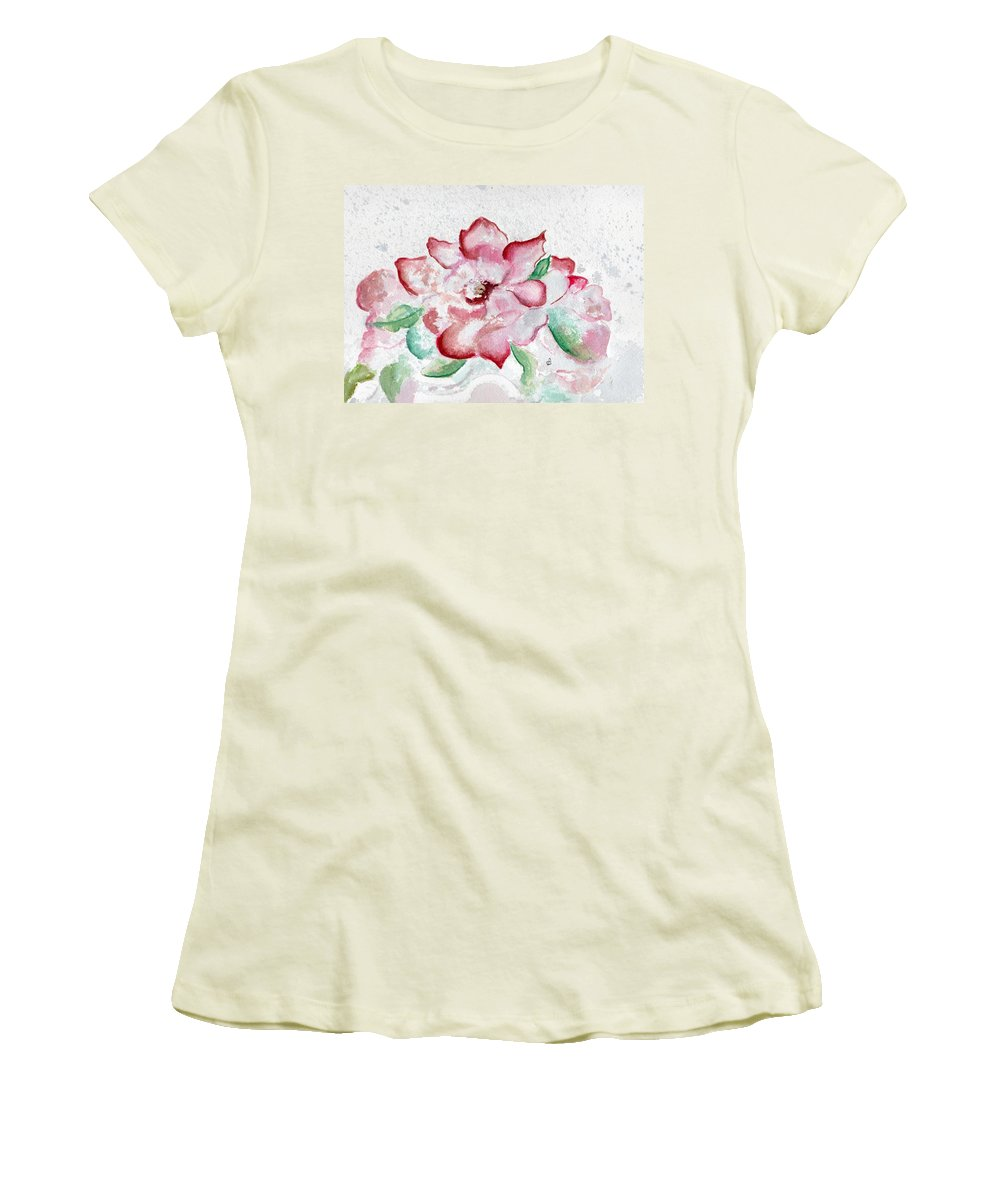 Watercolor Women's T-Shirt (Athletic Fit) featuring the painting Valentine Rose by Brenda Owen