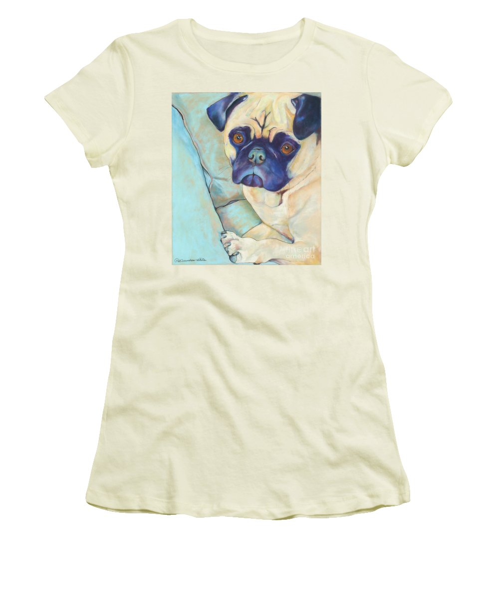 Pug Women's T-Shirt (Athletic Fit) featuring the pastel Valentino by Pat Saunders-White