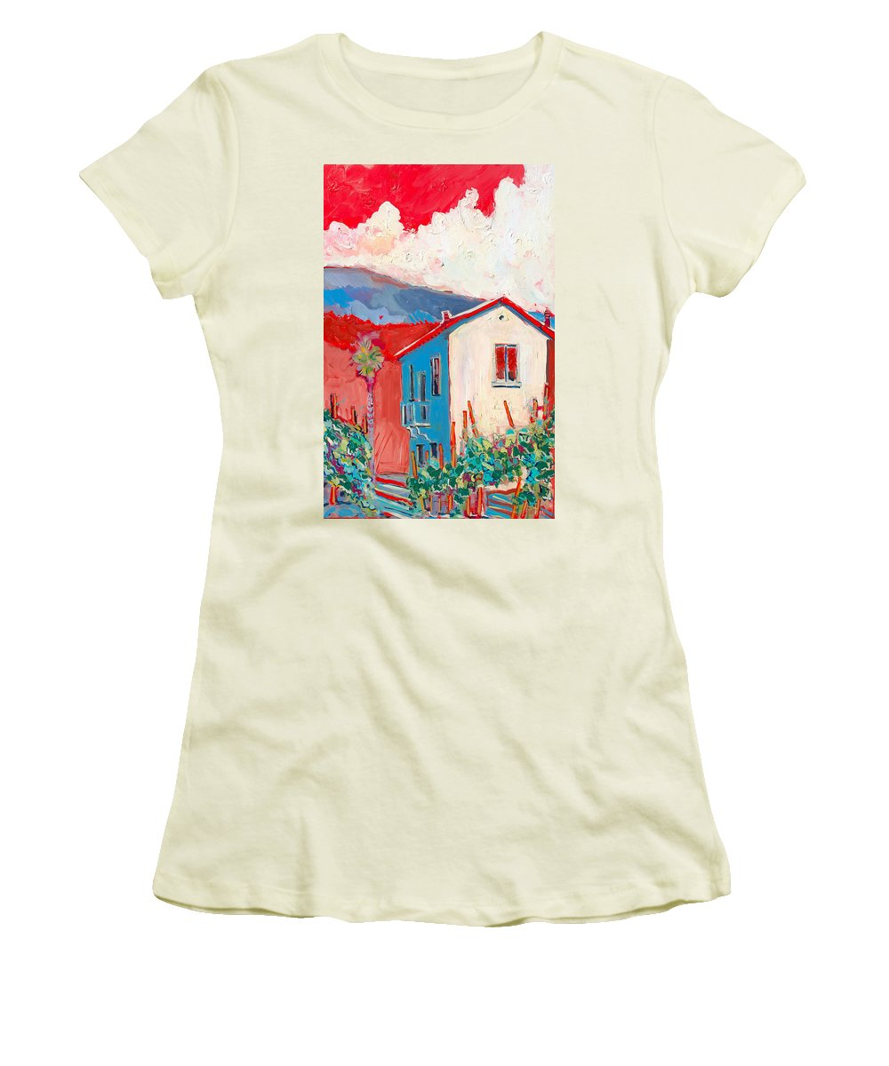 Tuscany Women's T-Shirt (Athletic Fit) featuring the painting Vecchio Casa by Kurt Hausmann