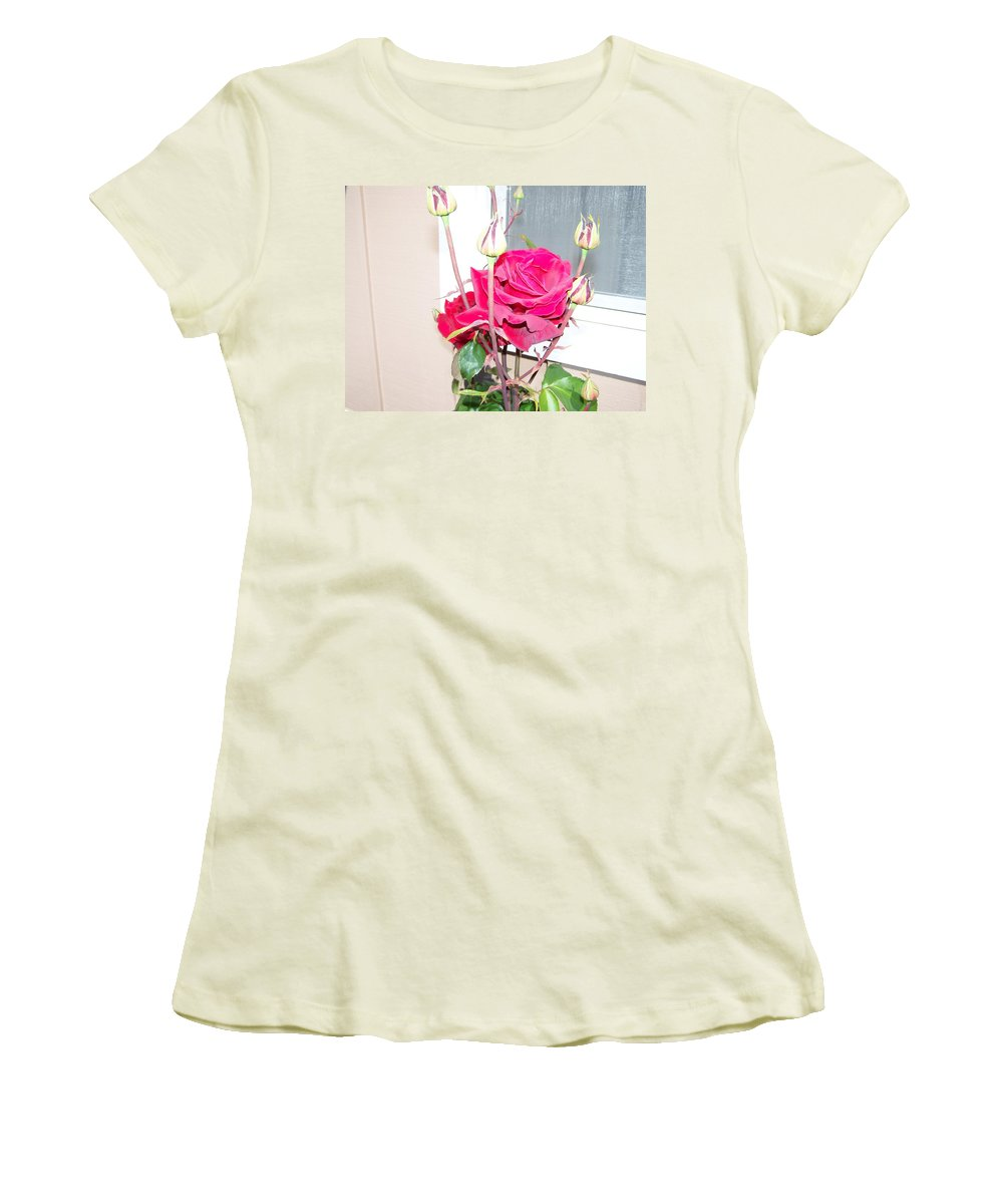Digital Photography Artwork Women's T-Shirt (Athletic Fit) featuring the photograph Velvet Red Rose Of Sharon by Laurie Kidd