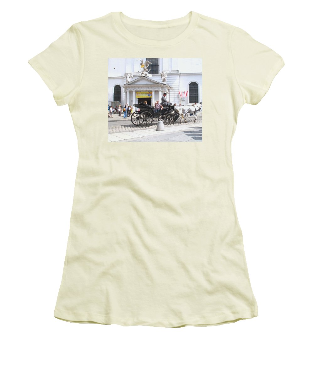 Carriage Women's T-Shirt (Athletic Fit) featuring the photograph Vienna Horse And Carriage by Ian MacDonald
