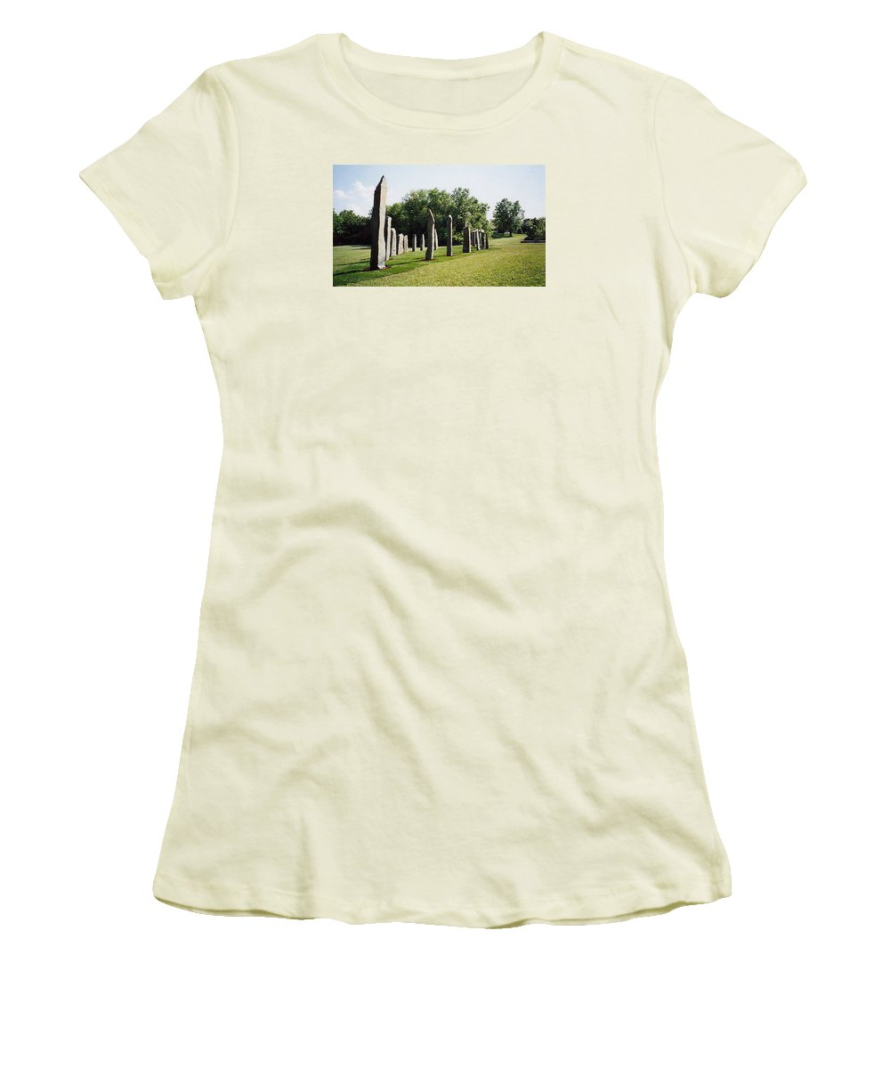 Historic Sculpture From 1999 Women's T-Shirt (Athletic Fit) featuring the sculpture Vinland by Jarle Rosseland