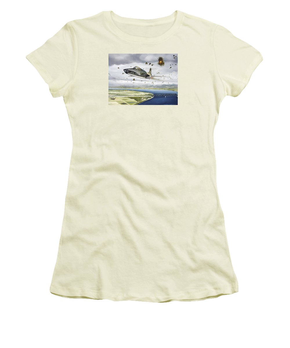 Military Women's T-Shirt (Junior Cut) featuring the painting Voodoo Vs The Dragon by Marc Stewart