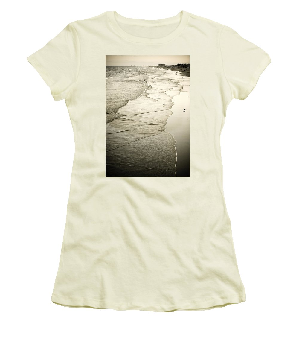 Ocean Women's T-Shirt (Athletic Fit) featuring the photograph Walking Along The Beach At Sunrise by Marilyn Hunt