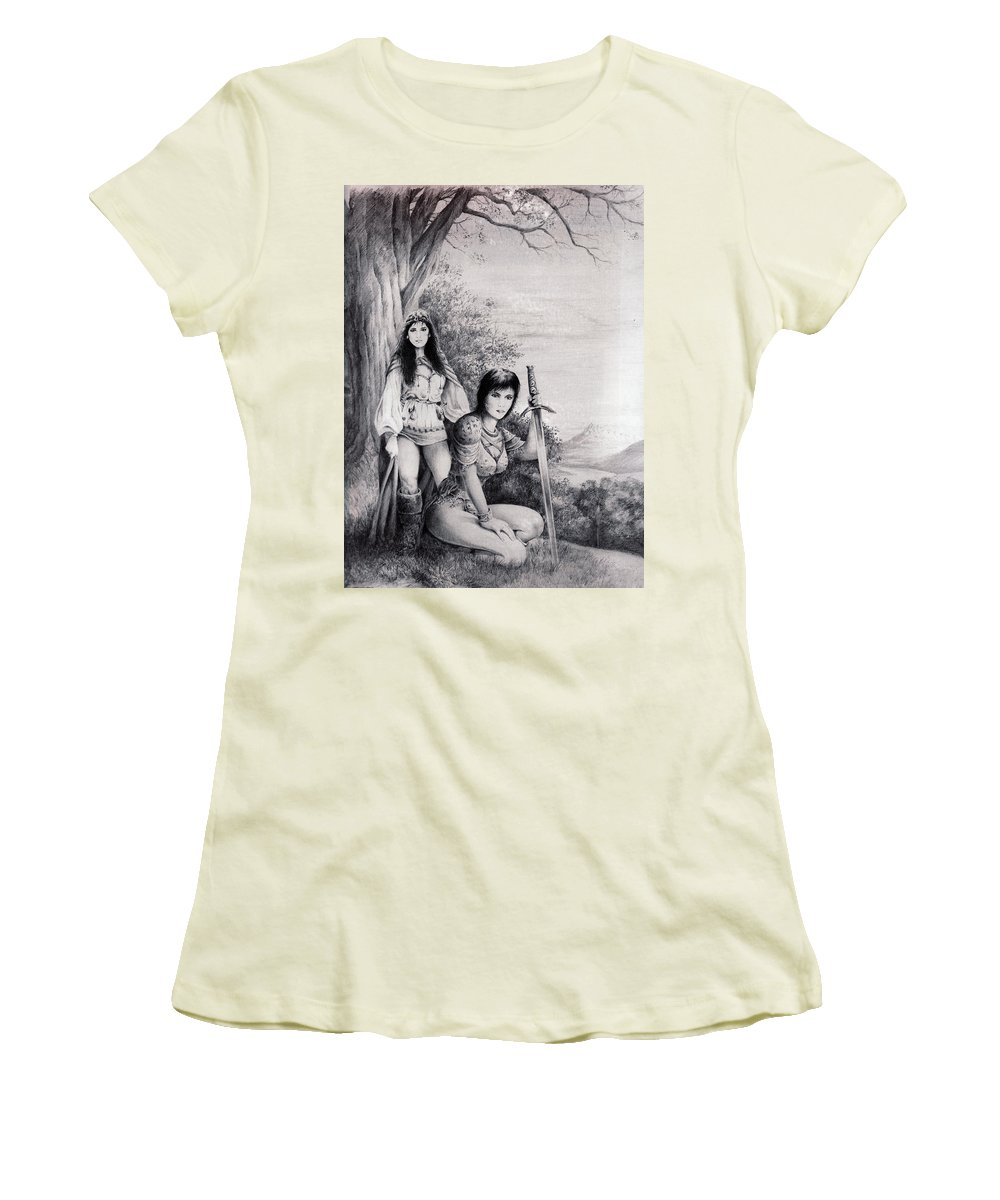 Floral Women's T-Shirt (Athletic Fit) featuring the drawing Warriors by Rachel Christine Nowicki