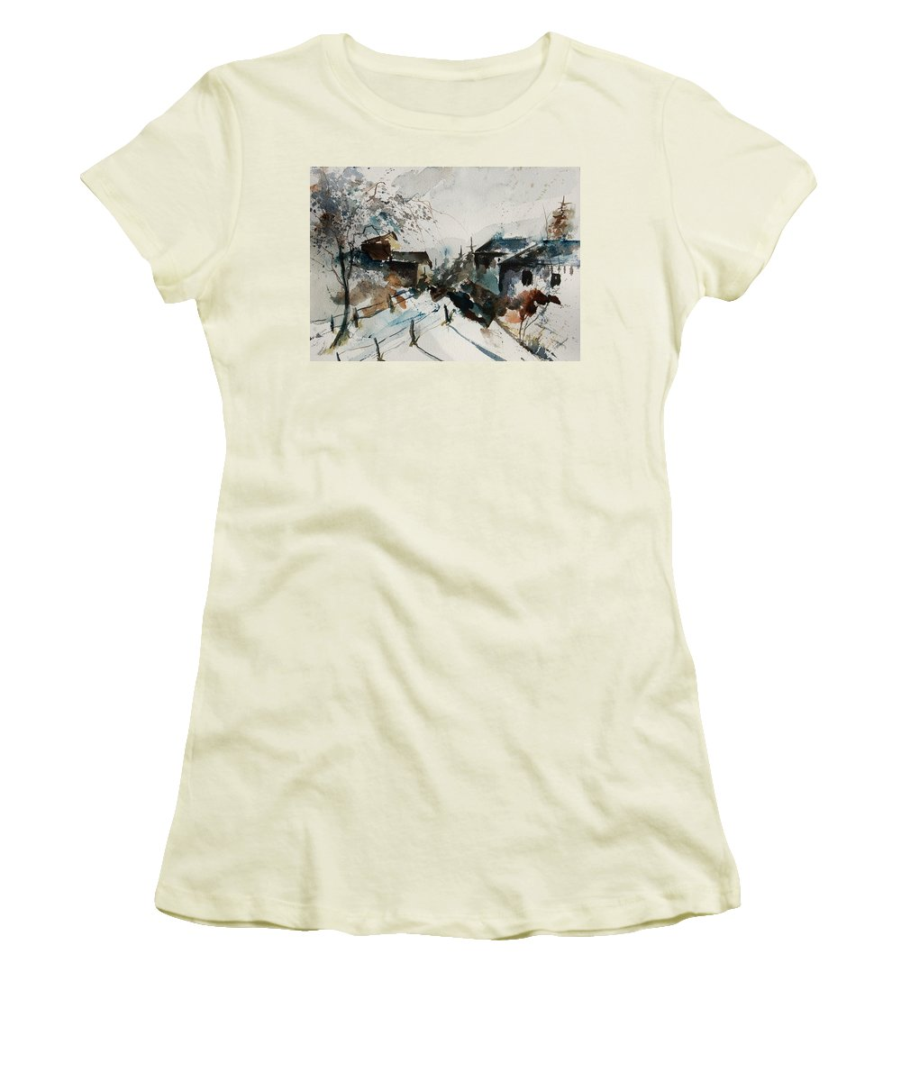 Winter Women's T-Shirt (Athletic Fit) featuring the painting Watercolor 080707 by Pol Ledent