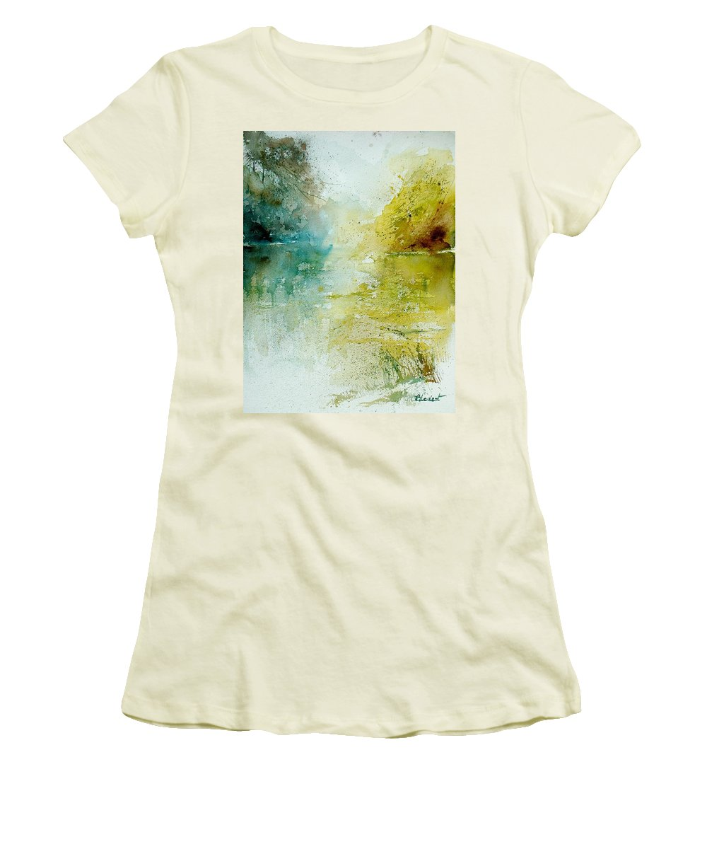 Water Women's T-Shirt (Athletic Fit) featuring the painting Watercolor 111207 by Pol Ledent