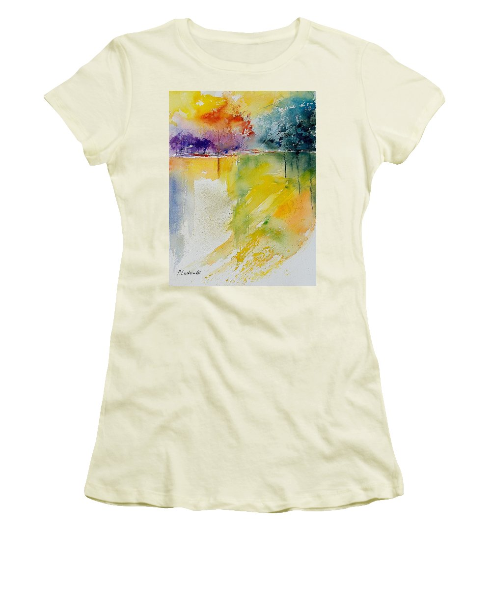Water Women's T-Shirt (Athletic Fit) featuring the painting Watercolor 241008 by Pol Ledent
