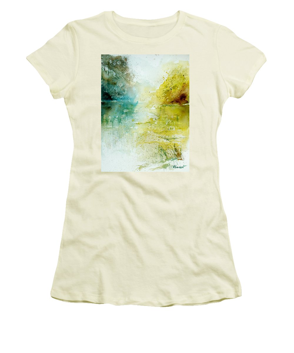 Pond Nature Landscape Women's T-Shirt (Athletic Fit) featuring the painting Watercolor 24465 by Pol Ledent