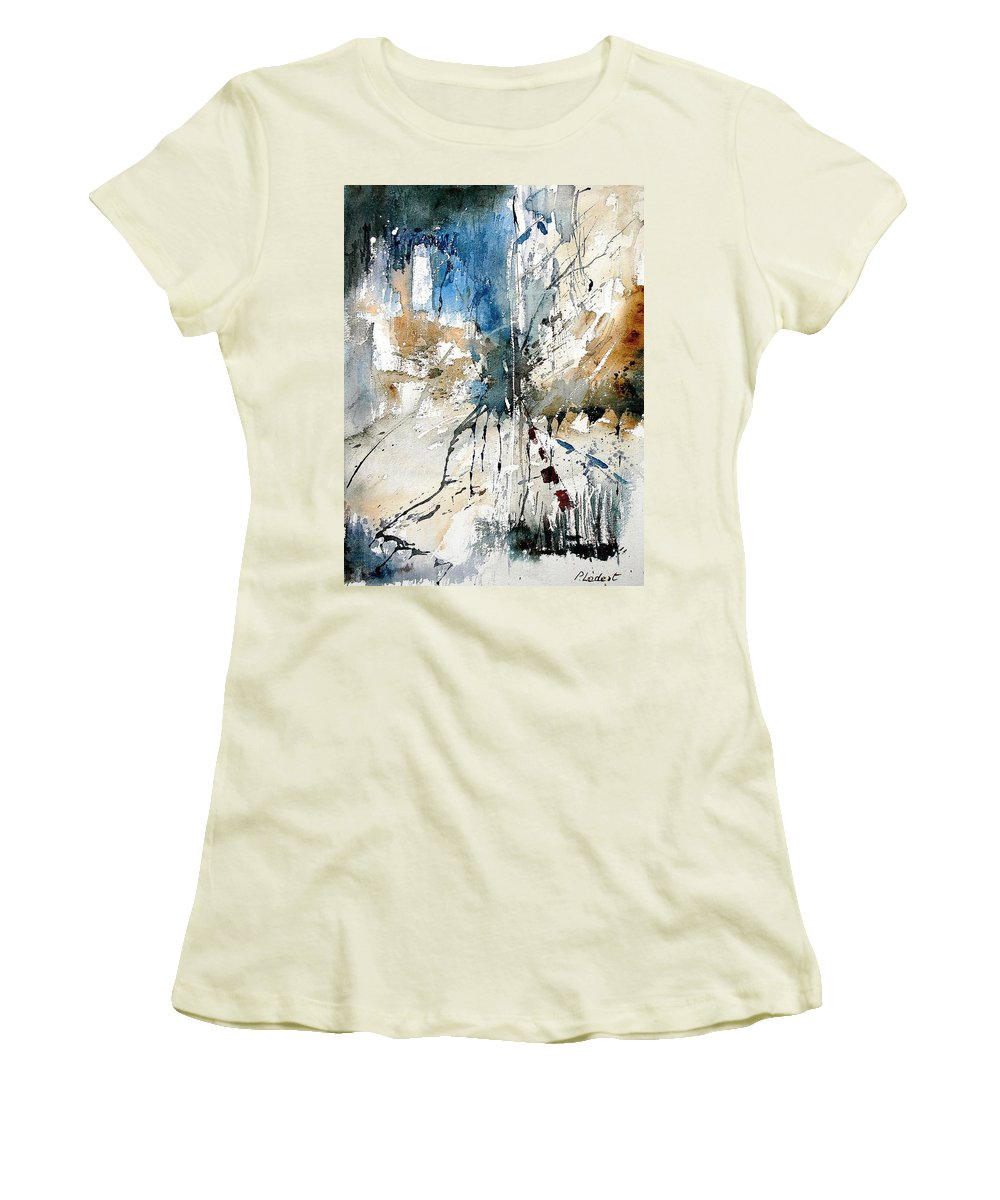 Abstract Women's T-Shirt (Athletic Fit) featuring the painting Watercolor 251108 by Pol Ledent