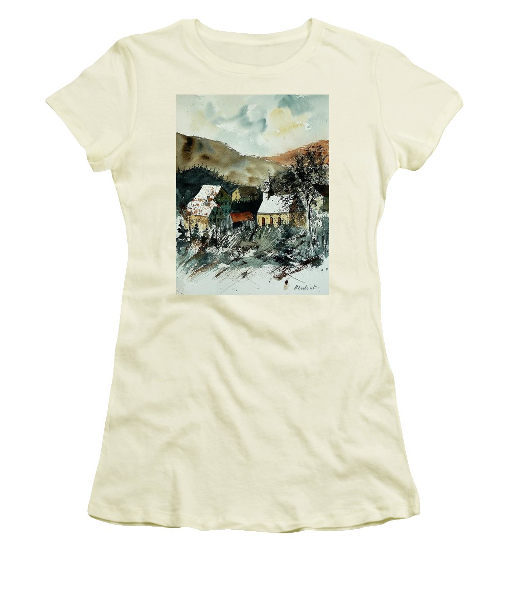 Winter Women's T-Shirt (Athletic Fit) featuring the painting Watercolor 260107 by Pol Ledent