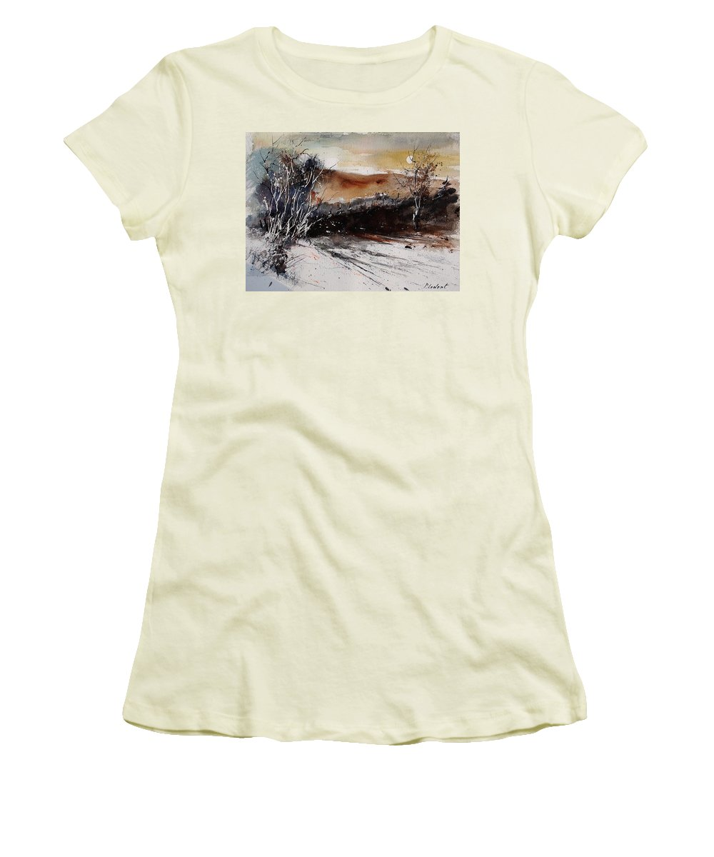 Tree Women's T-Shirt (Athletic Fit) featuring the painting Watercolor 270908 by Pol Ledent