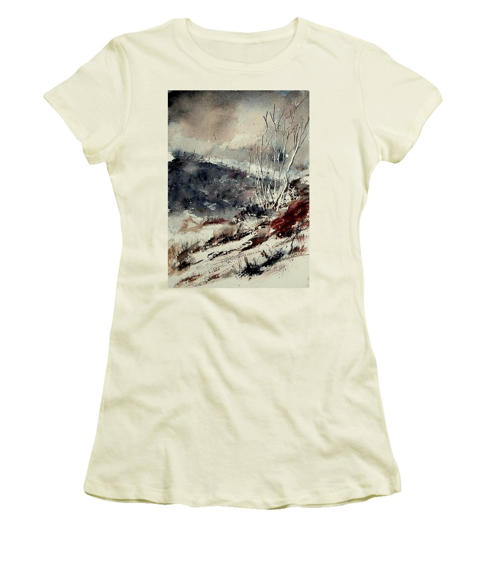 Winter Women's T-Shirt (Athletic Fit) featuring the painting Watercolor 281207 by Pol Ledent
