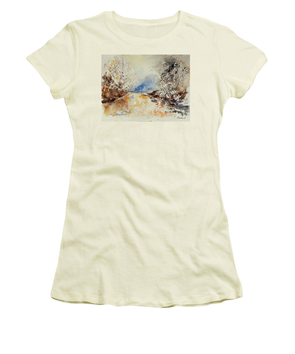 Water Women's T-Shirt (Athletic Fit) featuring the painting Watercolor 903002 by Pol Ledent