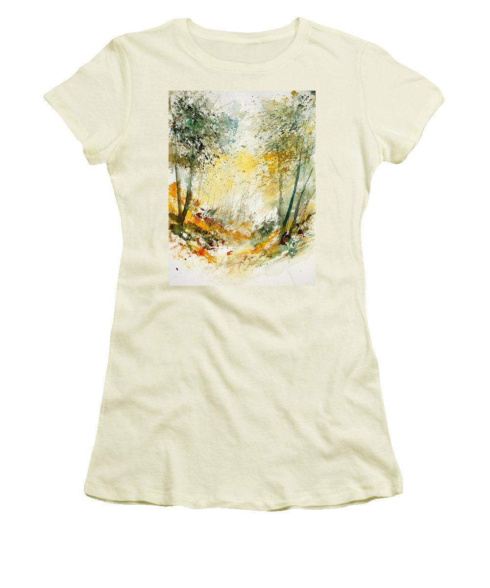 Tree Women's T-Shirt (Athletic Fit) featuring the painting Watercolor 908021 by Pol Ledent