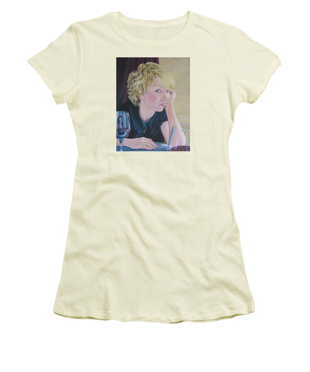 Portrait Women's T-Shirt (Athletic Fit) featuring the painting Well by Connie Schaertl