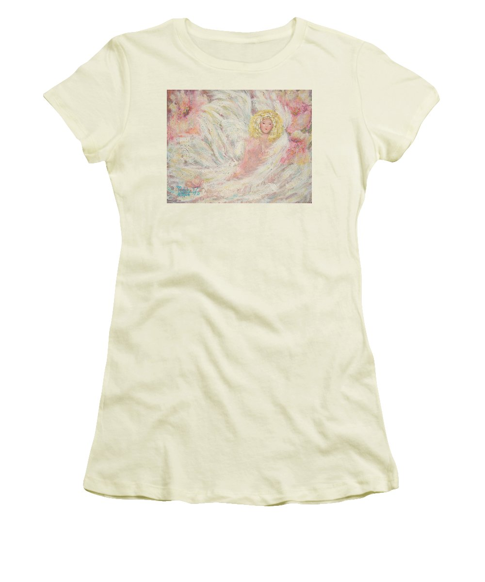 Angel Women's T-Shirt (Athletic Fit) featuring the painting White Feathers Secret Garden Angel 4 by Natalie Holland