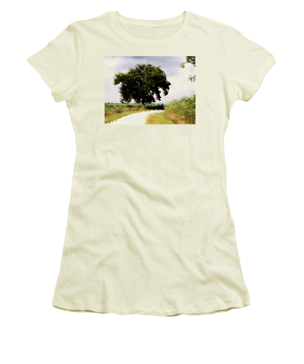 Breeze Women's T-Shirt (Athletic Fit) featuring the digital art Wind Motif Old Dam Road by RC DeWinter