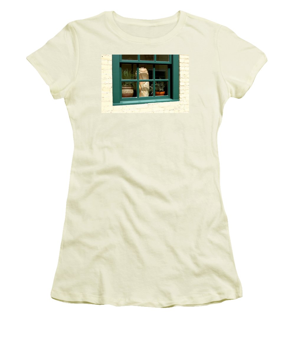 Fern Women's T-Shirt (Athletic Fit) featuring the photograph Window At Sanders Resturant by Steve Augustin