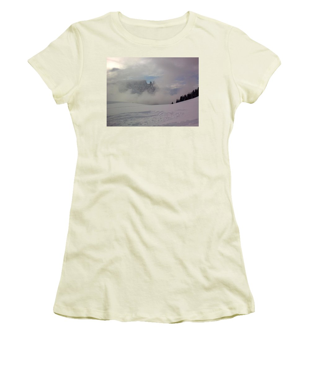 Landscape Women's T-Shirt (Athletic Fit) featuring the photograph Winter In The Dolomite Alps by Valerie Ornstein