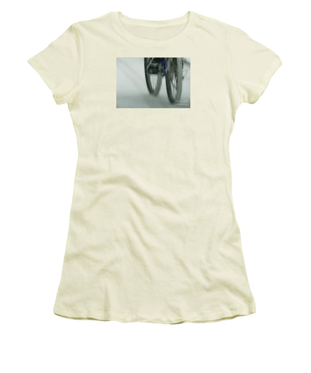 Bicycle Women's T-Shirt (Athletic Fit) featuring the photograph Winter Ride by Linda Shafer