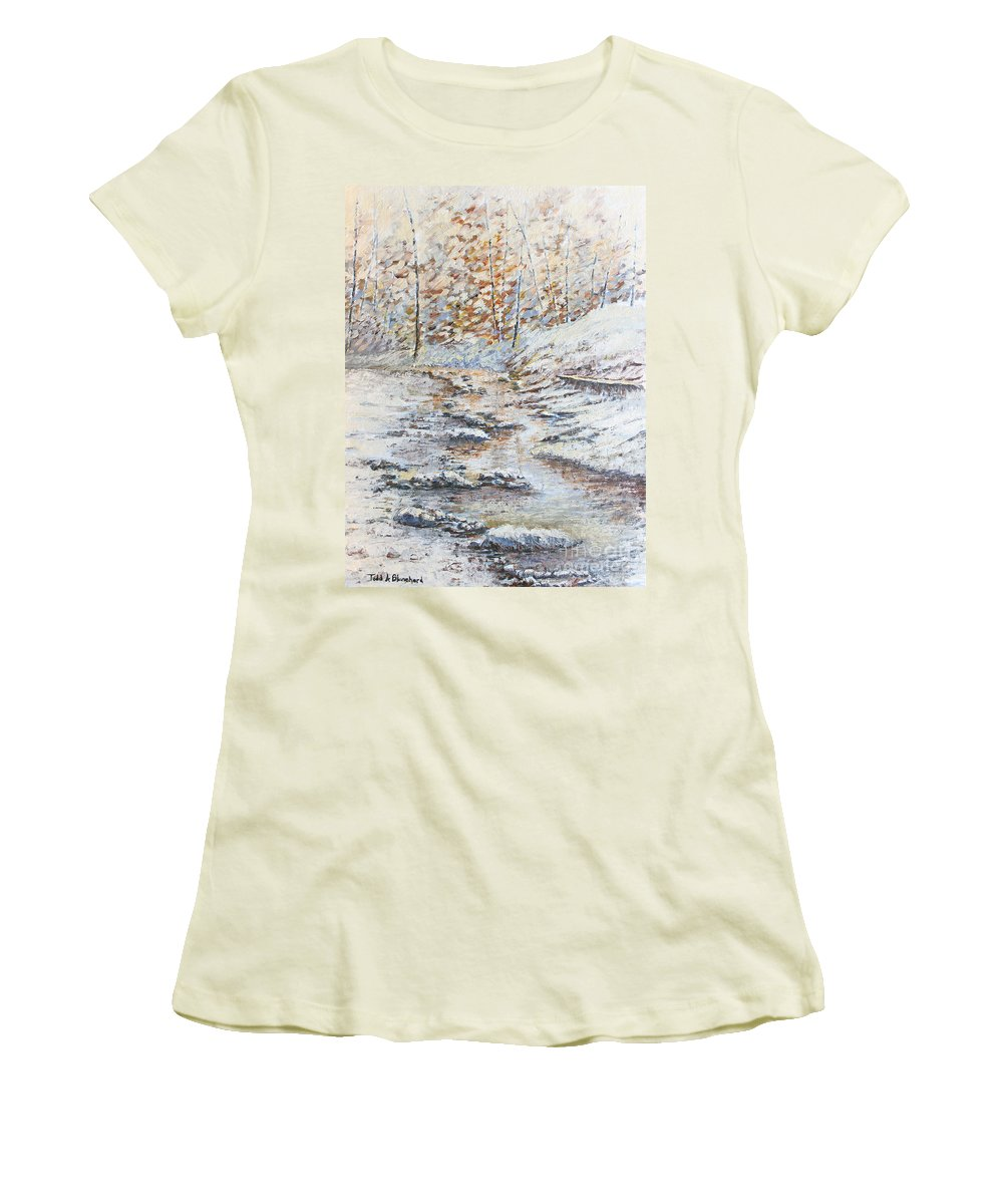Landscape Women's T-Shirt (Athletic Fit) featuring the painting Winter River by Todd Blanchard