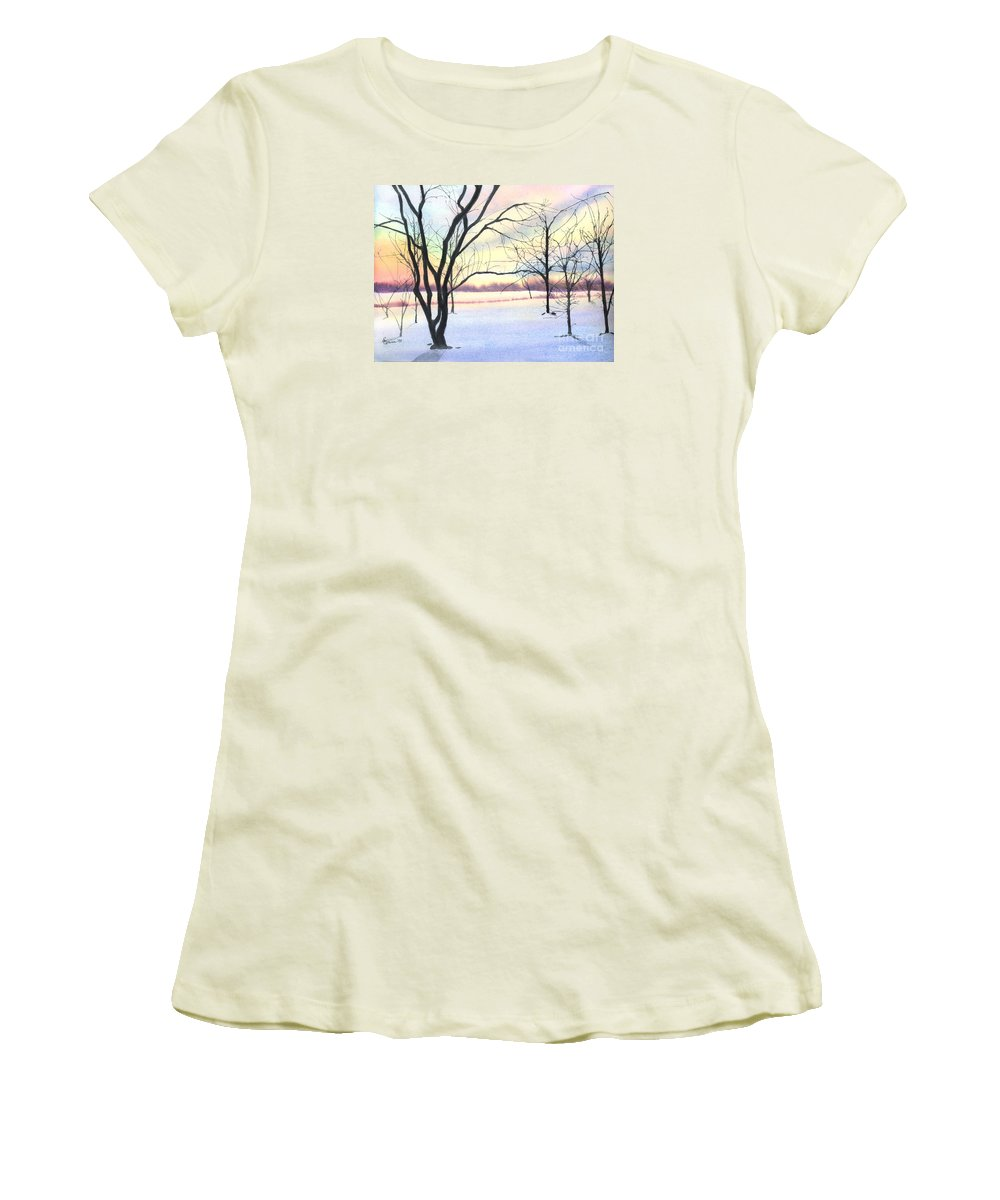 Sunrise Women's T-Shirt (Athletic Fit) featuring the painting Winter Sunrise by Lynn Quinn