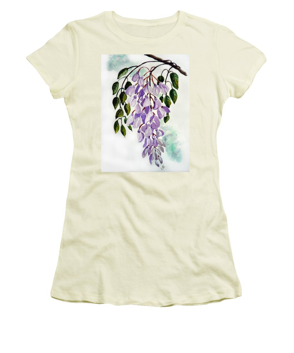 Floral Paintings Flower Paintings Wisteria Paintings Botanical Paintings Flower Purple Paintings Greeting Card Paintings  Women's T-Shirt (Athletic Fit) featuring the painting Wisteria by Karin Dawn Kelshall- Best