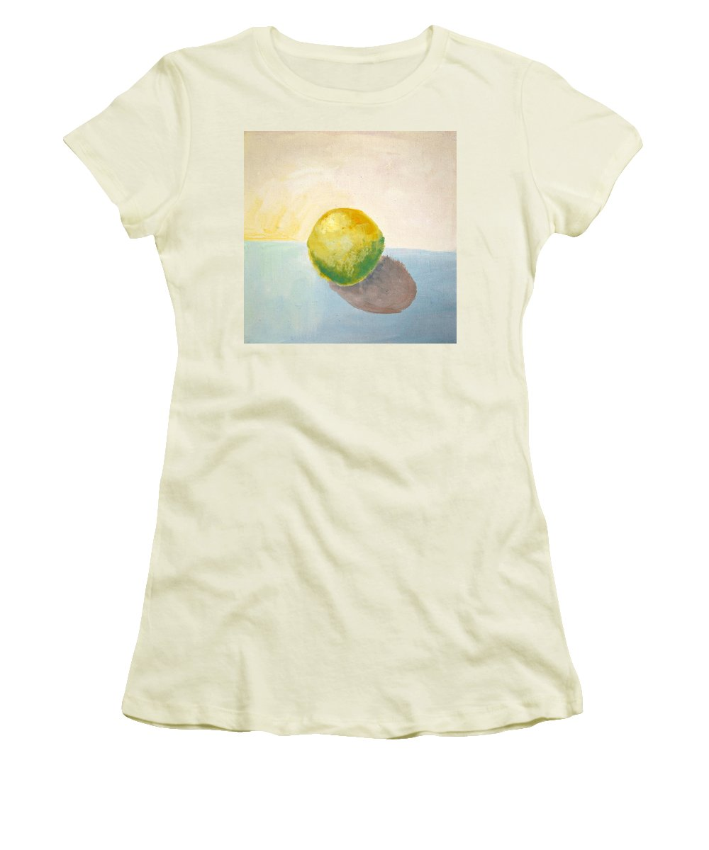 Lemon Women's T-Shirt (Athletic Fit) featuring the painting Yellow Lemon Still Life by Michelle Calkins