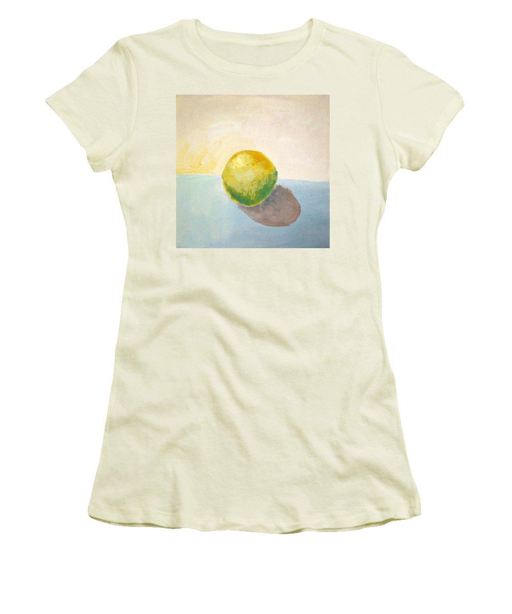 Lemon Women's T-Shirt (Athletic Fit) featuring the painting Yellow Lemon Still Life by Michelle Calkins