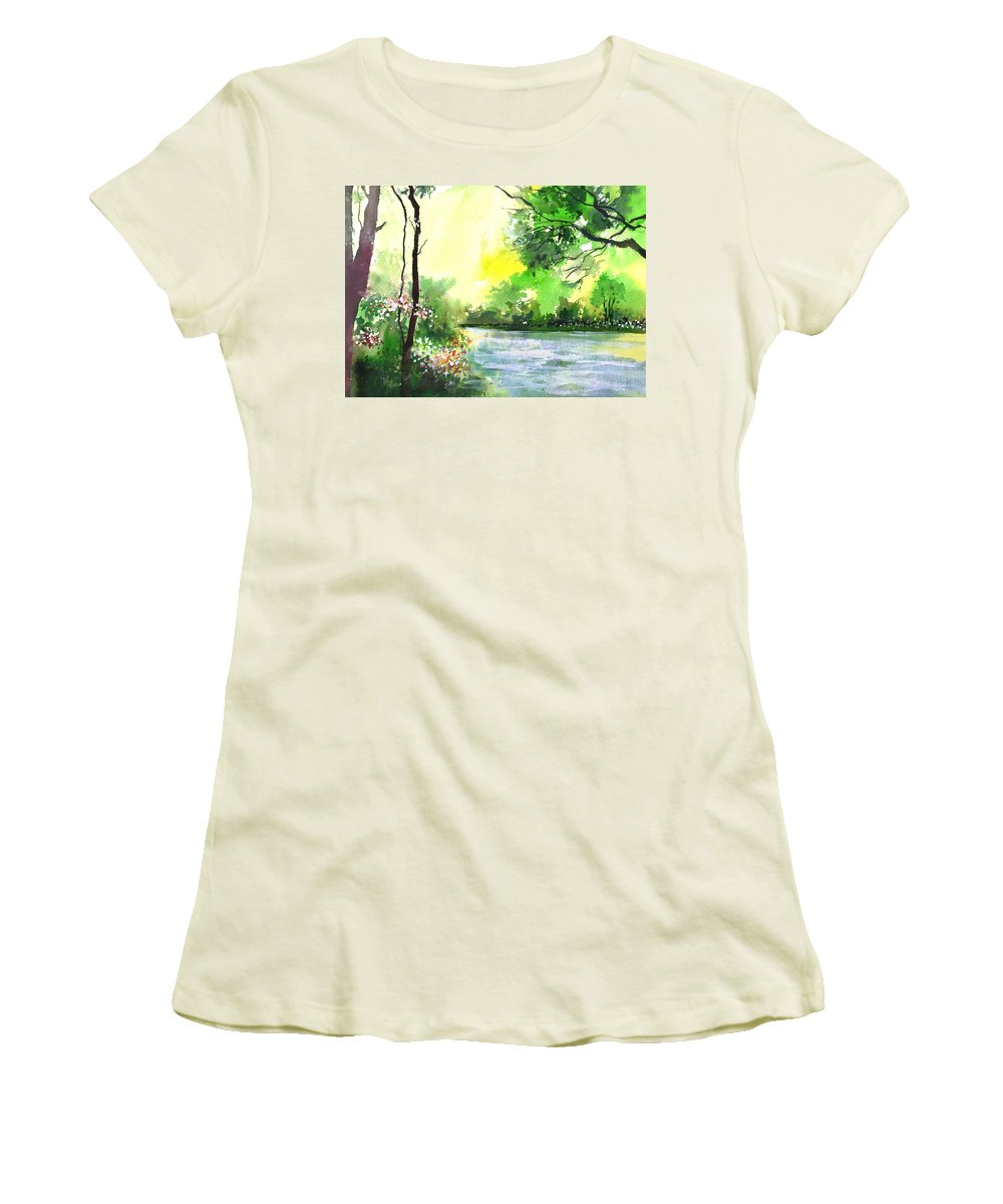 Sky Women's T-Shirt (Athletic Fit) featuring the painting Yellow Sky by Anil Nene