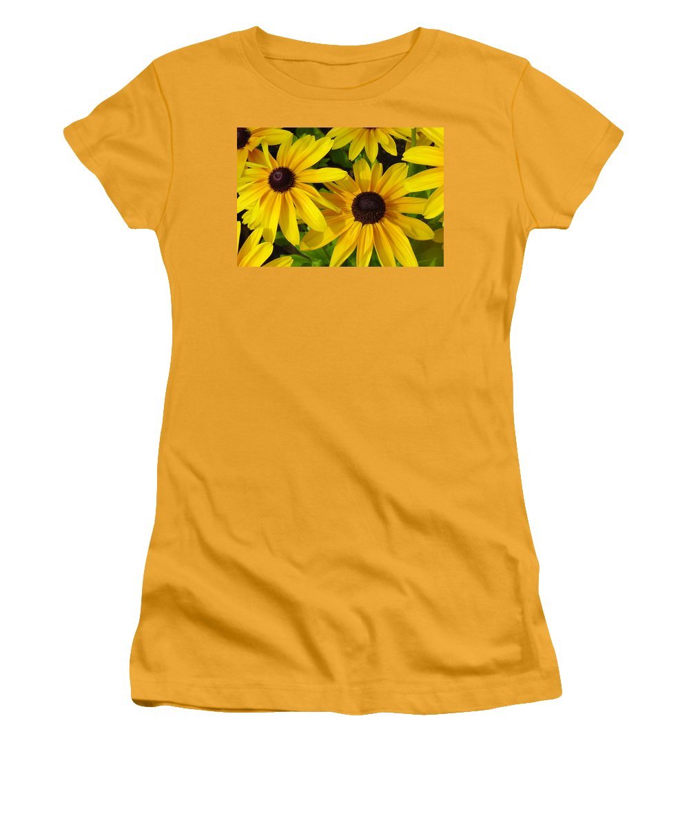 Black Eyed Susan Women's T-Shirt (Athletic Fit) featuring the photograph Black Eyed Susans by Suzanne Gaff