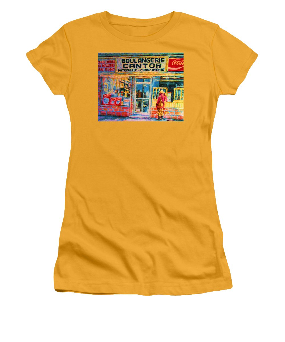 Cantors Women's T-Shirt (Athletic Fit) featuring the painting Cantors Bakery by Carole Spandau