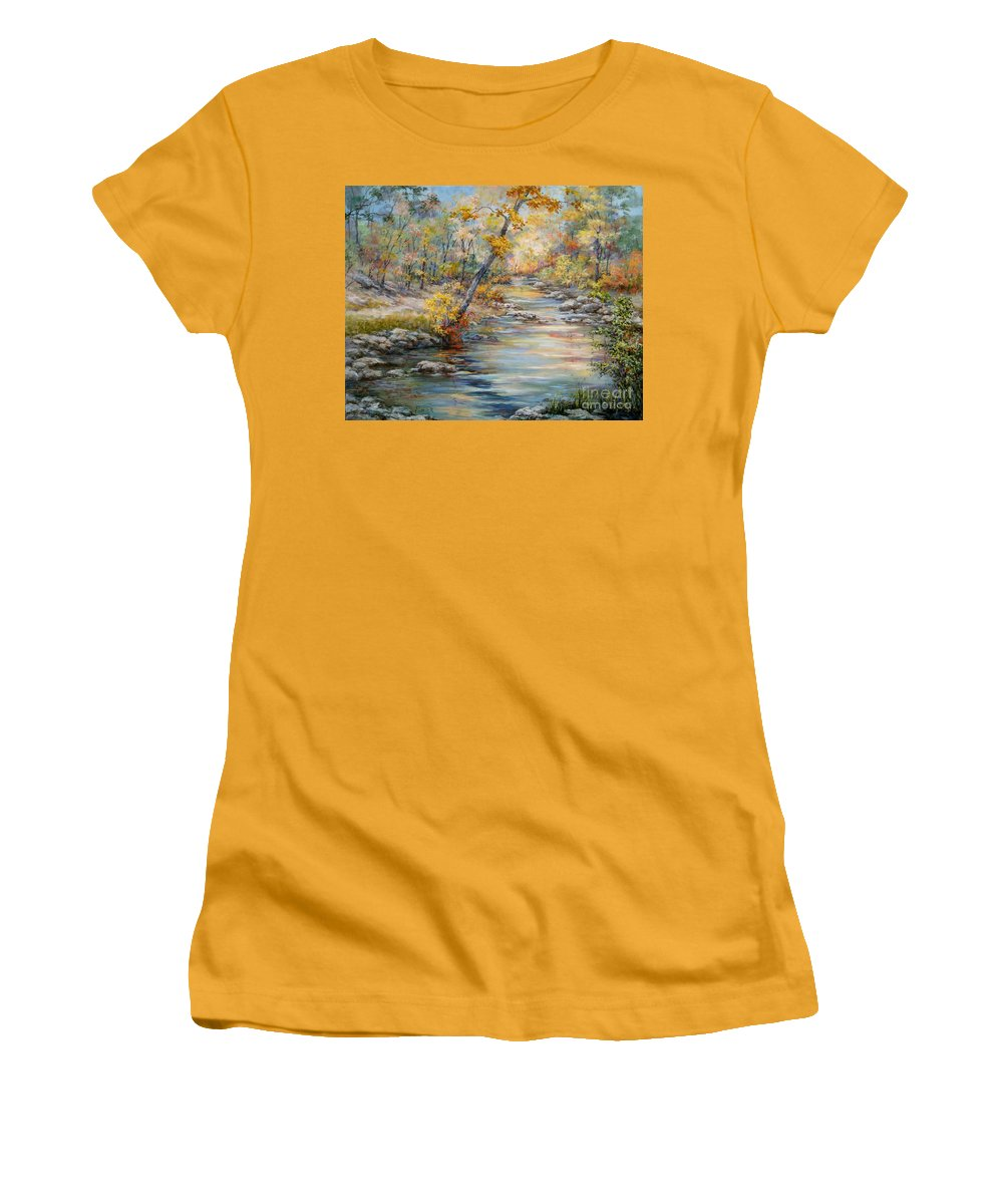 Landscape Women's T-Shirt (Athletic Fit) featuring the painting Cedar Creek Trail by Virginia Potter