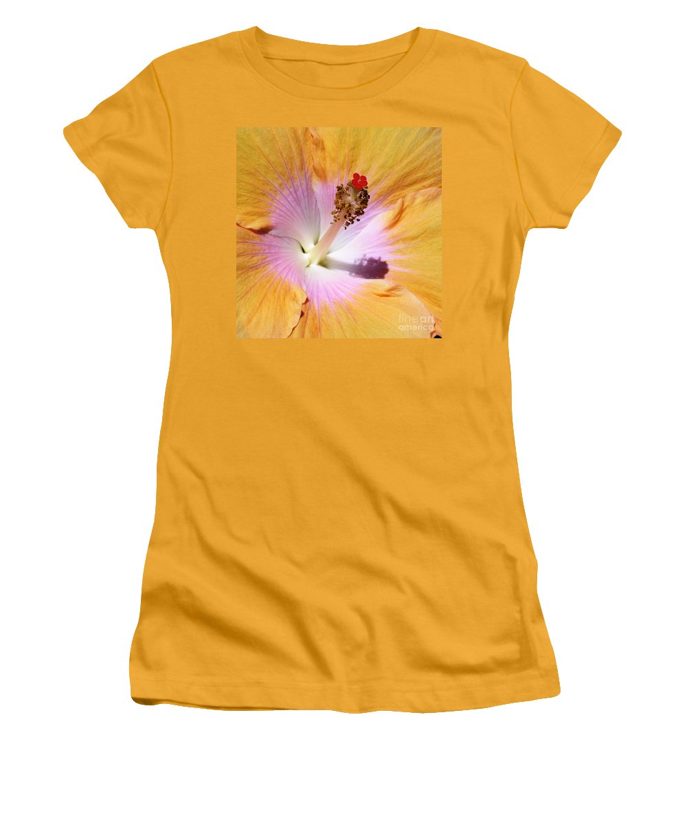 Hibiscus Women's T-Shirt (Athletic Fit) featuring the photograph Hibiscus Center by Mary Deal