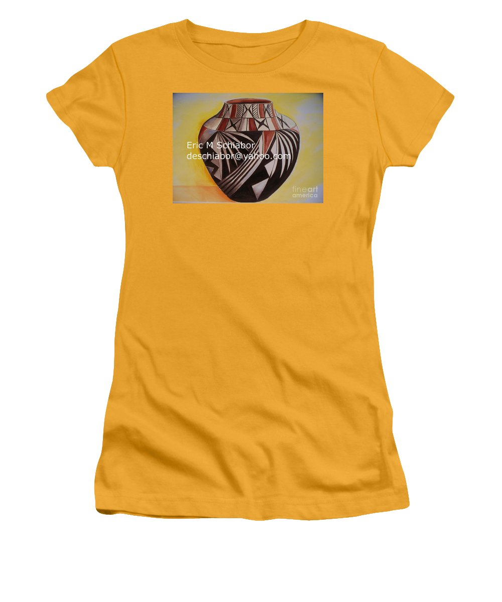 Indian Women's T-Shirt (Athletic Fit) featuring the painting Indian Pottery by Eric Schiabor