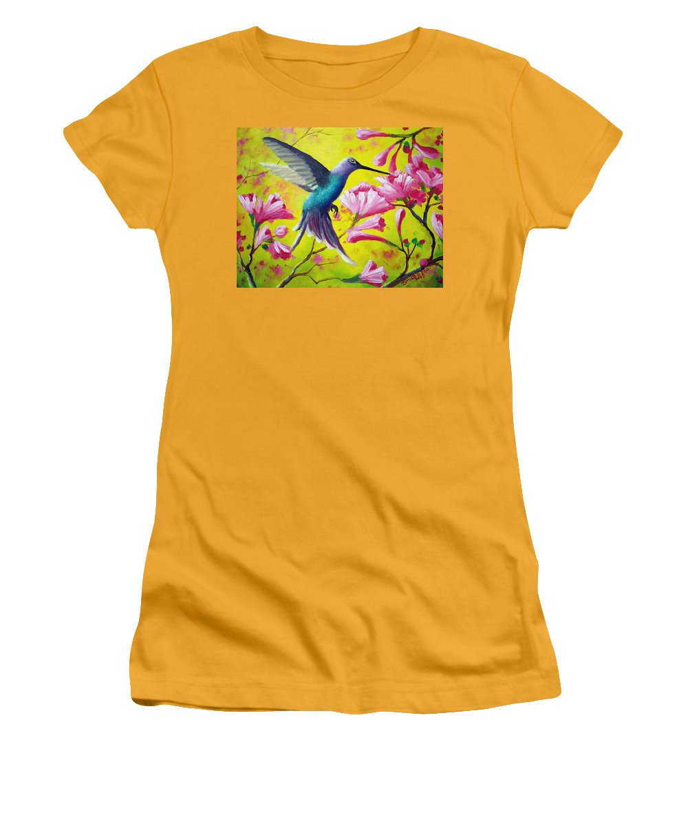 Hummingbird Women's T-Shirt (Athletic Fit) featuring the painting Morning Sweets by David G Paul
