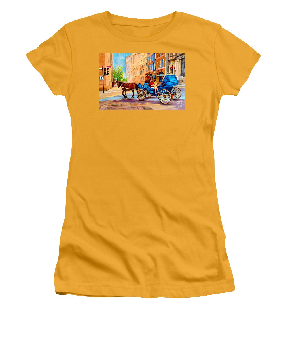 Rue Notre Dame Women's T-Shirt (Athletic Fit) featuring the painting Rue Notre Dame Caleche Ride by Carole Spandau