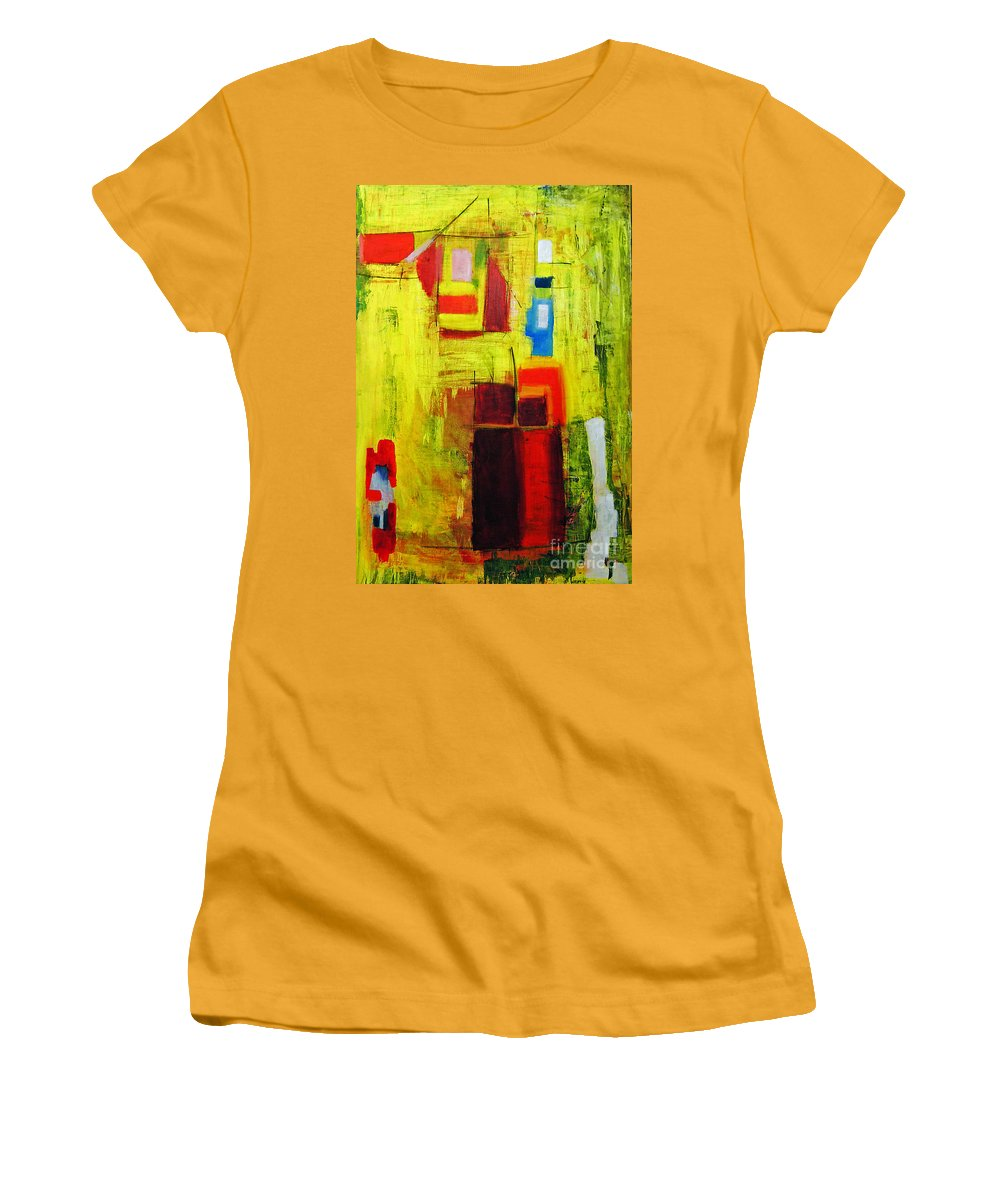 Abstract Painting Women's T-Shirt (Athletic Fit) featuring the painting Yellow by Jeff Barrett