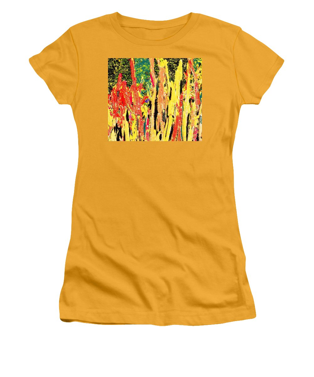 Cactus Women's T-Shirt (Athletic Fit) featuring the digital art Bridgestone Cacti by Ian MacDonald