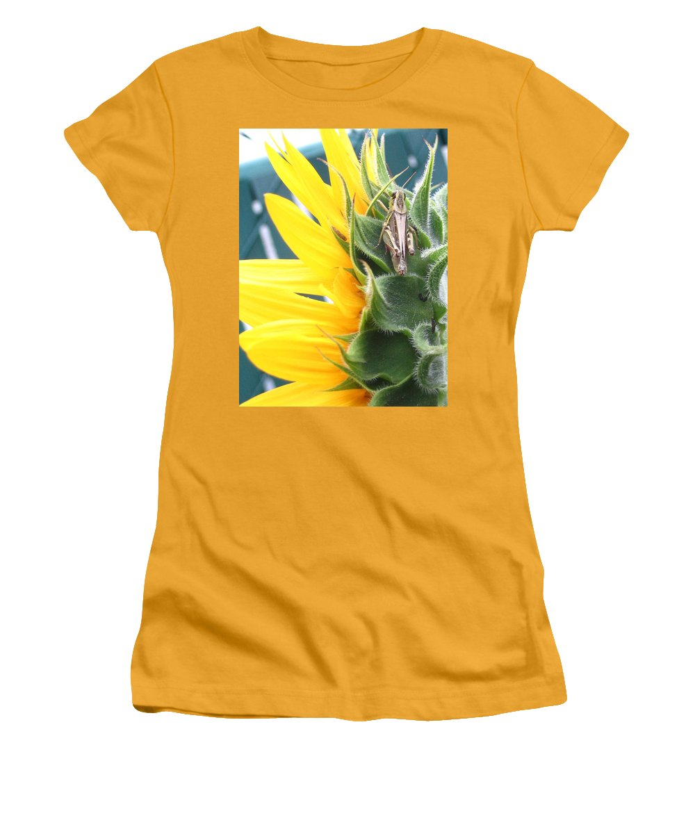 Sunflower Women's T-Shirt (Athletic Fit) featuring the photograph ... Small Break by Line Gagne