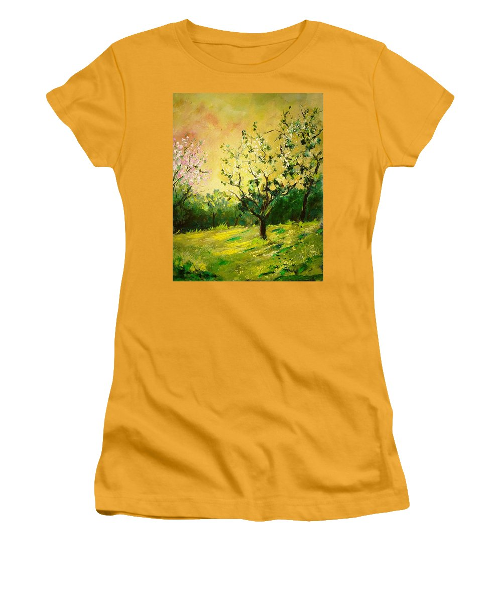 Spring Women's T-Shirt (Athletic Fit) featuring the painting Orchard 45 by Pol Ledent