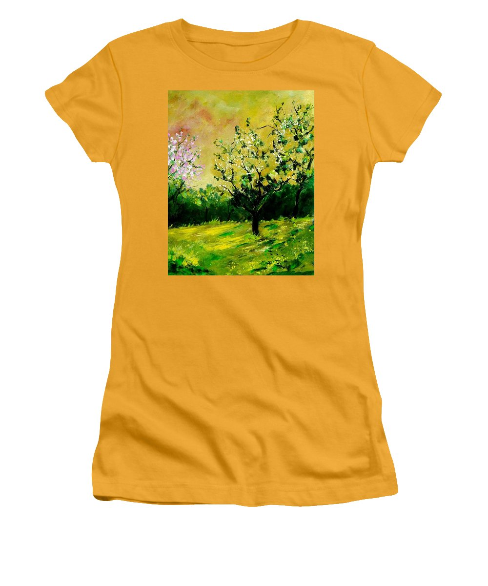 Landscape Women's T-Shirt (Athletic Fit) featuring the painting Orchard by Pol Ledent