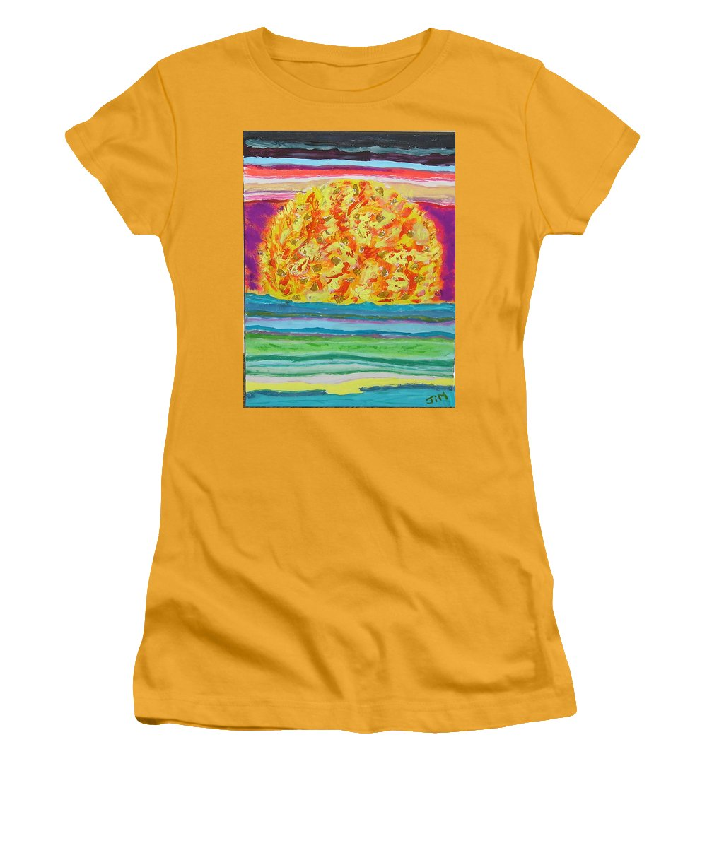 Hot Women's T-Shirt (Athletic Fit) featuring the painting The Sun Drinks The Ocean And Eats The Sky by James Campbell