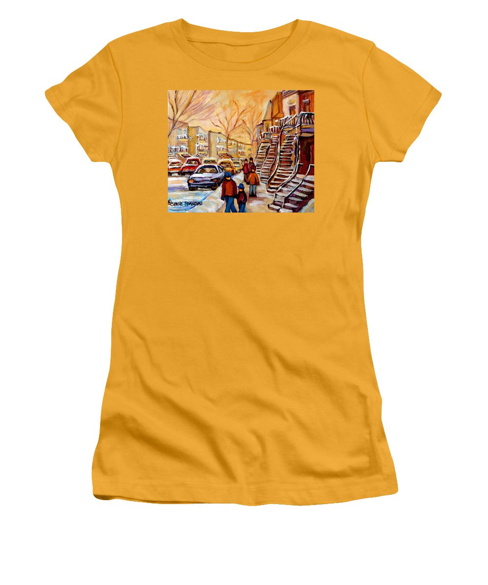 Montreal Women's T-Shirt (Athletic Fit) featuring the painting Winter Walk In Montreal by Carole Spandau