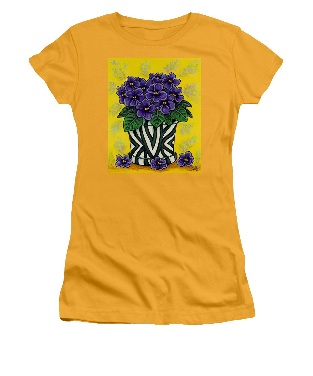 Violets Women's T-Shirt (Athletic Fit) featuring the painting African Queen by Lisa Lorenz