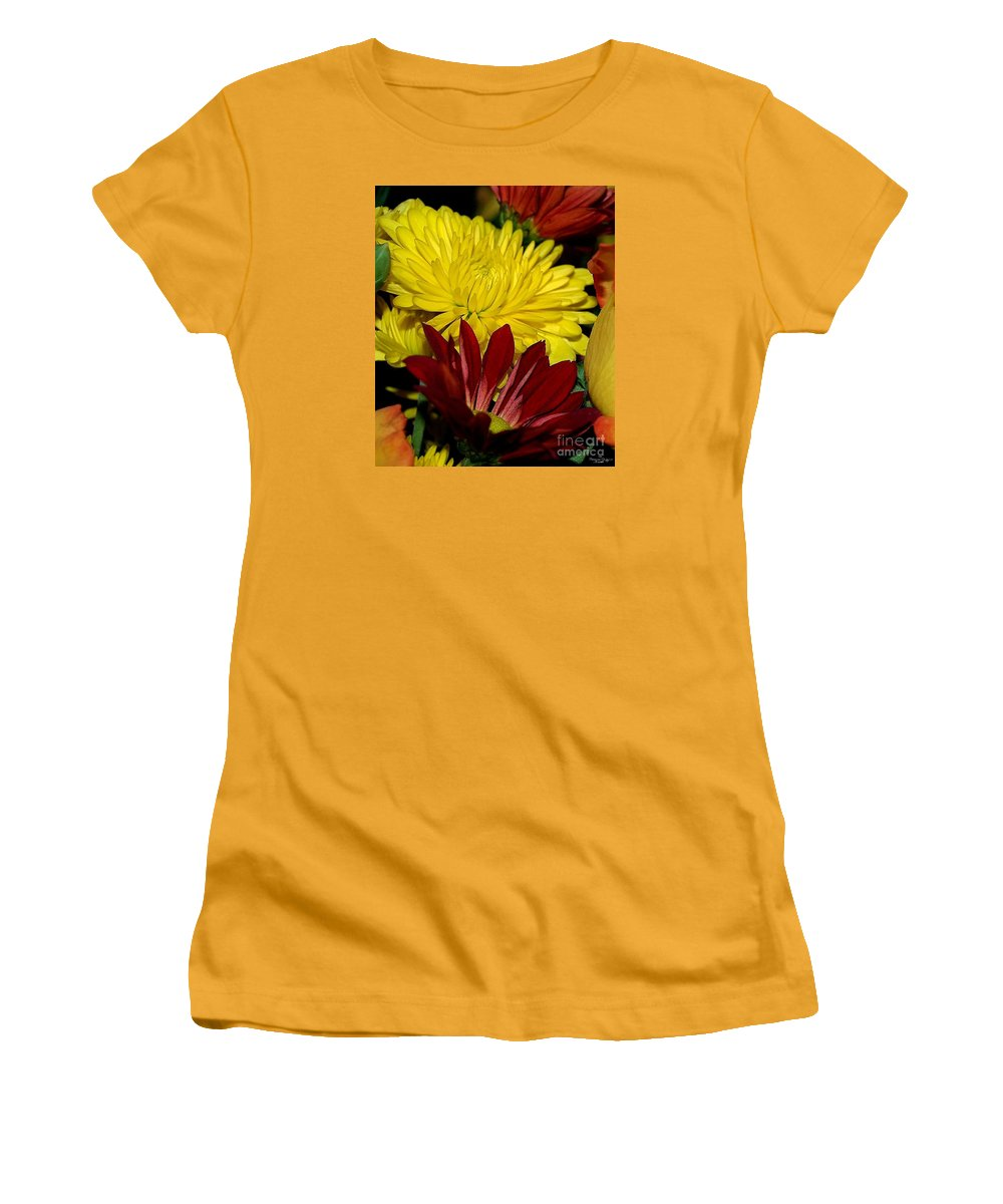 Chrysanthemum Photography Women's T-Shirt (Athletic Fit) featuring the photograph Autumn Colors by Patricia Griffin Brett