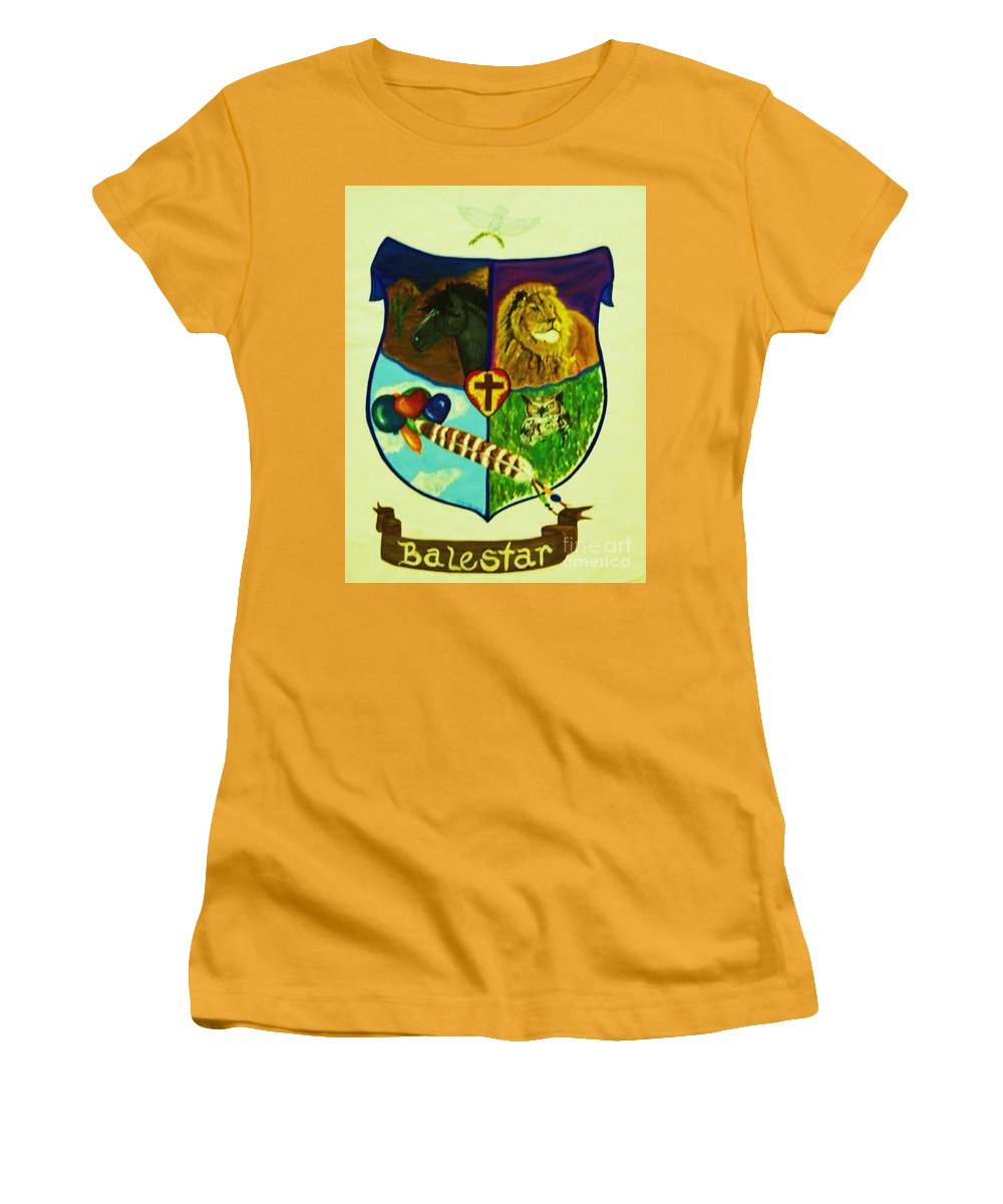 Lion Women's T-Shirt (Athletic Fit) featuring the painting Balestar Crest by Jamey Balester