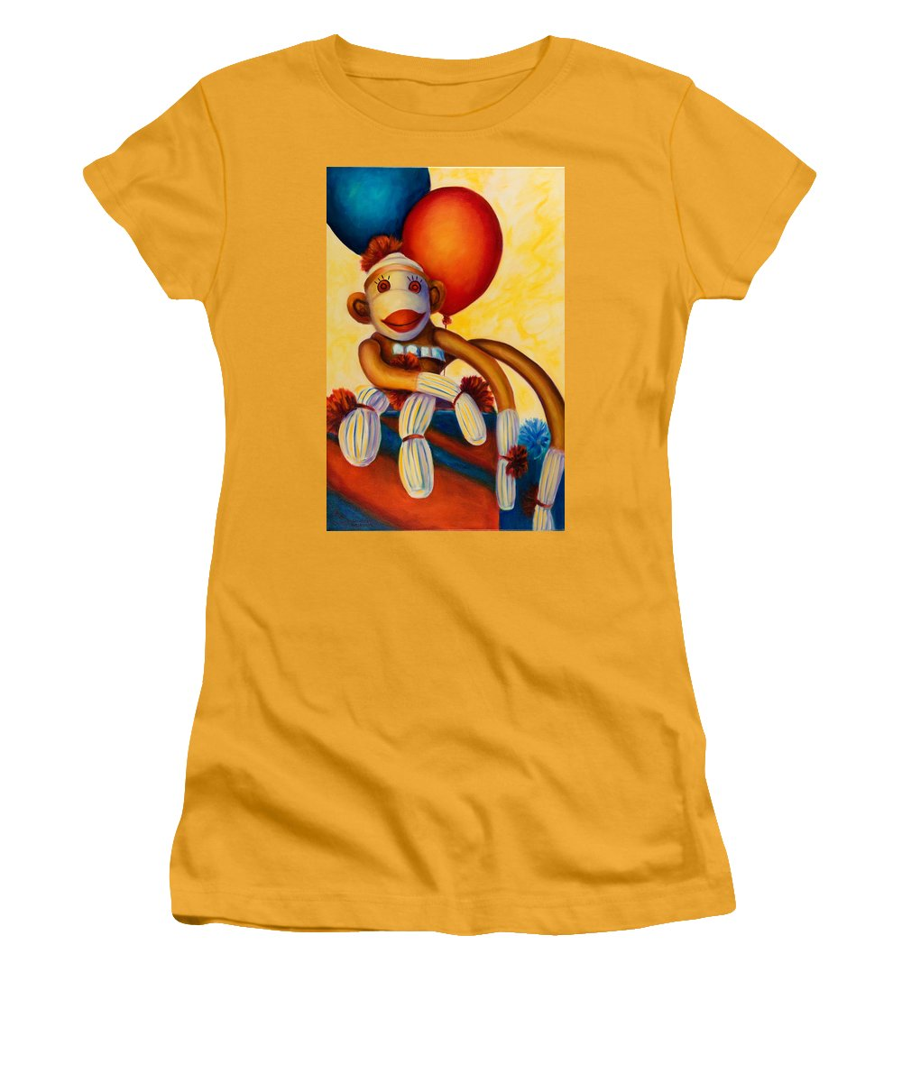 Sock Monkey Brown Women's T-Shirt (Athletic Fit) featuring the painting Birthday Made Of Sockies by Shannon Grissom
